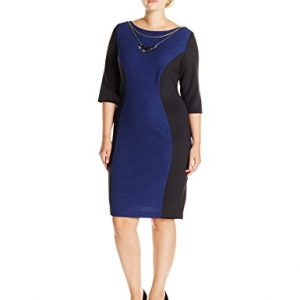 Sangria-Womens-Plus-Size-Textured-Elbow-Sleeve-Sheath-Dress-with-Necklace-0