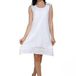 TrendzArt-White-Perforated-Cotton-Sleeveless-Tunic-Top-Blouse-w-Lining-0