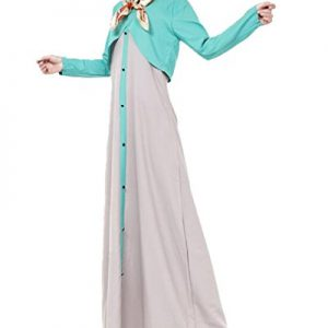 Womens-Long-Sleeve-Color-Block-Abaya-Islamic-Muslim-Kaftan-Maxi-Dress-0