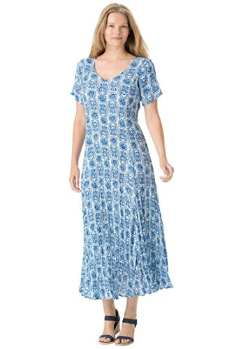 Womens Plus Size Petite Short Sleeve Crinkle Dress