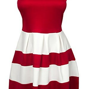 eVogues-Plus-size-Color-Block-Flare-Mini-Dress-Red-White-0