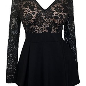 eVogues-Plus-size-Lace-Overlay-Romper-Dress-Black-0