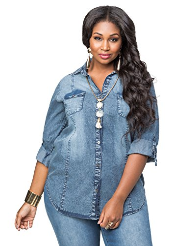 a24311c794f48 Ashley-Stewart-Womens-Plus-Size-Sandblast-Denim-Shirt-0 - Women s ...