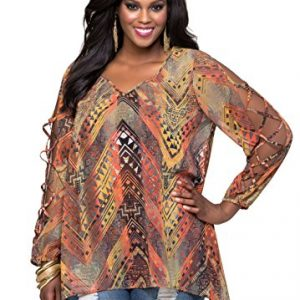 Ashley-Stewart-Womens-Plus-Size-Tribal-Lace-Up-Sleeve-Blouse-0