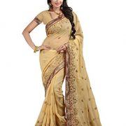Bunny Sarees Women's Dashing Georgette Saree 6.30 mts With Unstitched Blouse Beige