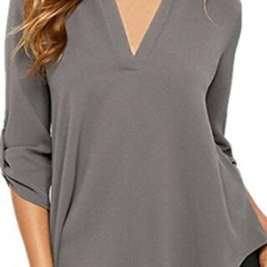 Chase-Secret-Womens-V-Neck-Blouses-Solid-Loose-Casual-Cuffed-Sleeve-Shirt-Top-0