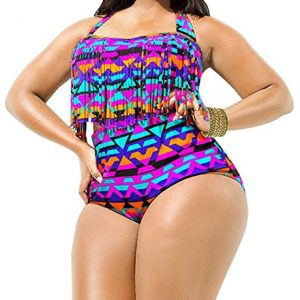 Creabygirls-Womens-Plus-Size-Print-High-Waist-Two-Piece-Tassel-Swimsuits-0