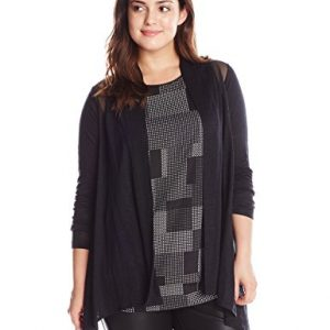 DKNYC-Womens-Plus-Size-Flowy-Knit-Covering-with-Mesh-Piecing-0