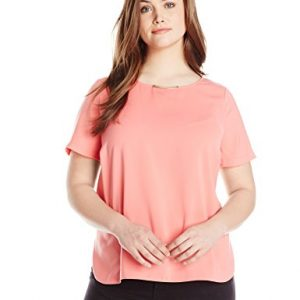 DKNYC-Womens-Plus-Size-Tech-Crepe-Hi-Low-Short-Sleeve-Top-0
