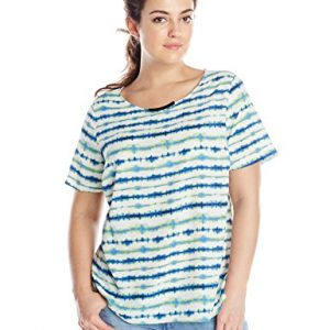 DKNYC-Womens-Plus-size-Hi-Low-Short-Sleeved-Top-with-Metal-Neck-Trim-0