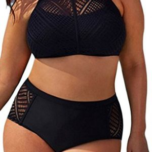 EVALESS-Womens-Plus-Size-Sheer-Mesh-Padded-Push-Up-Bikini-Set-Swimsuit-Swimwear-0