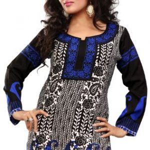 Long-India-Tunic-Top-Womens-Kurti-Printed-Black-Blouse-Indian-Clothing-0