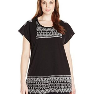 Lucky-Brand-Womens-Plus-Size-Embroidered-Panel-T-Shirt-0