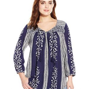 Lucky-Brand-Womens-Plus-Size-Mixed-Print-Top-0