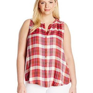 Lucky-Brand-Womens-Plus-Size-Rayon-Plaid-Shirt-0