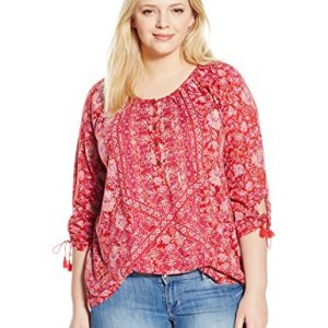 Lucky-Brand-Womens-Plus-Size-Tie-Sleeve-Henley-Blouse-0