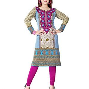 Polyester-Beige-Indian-Tunic-Top-Bollywood-Women-Long-Full-Sleeve-Kurti-Kurta-0