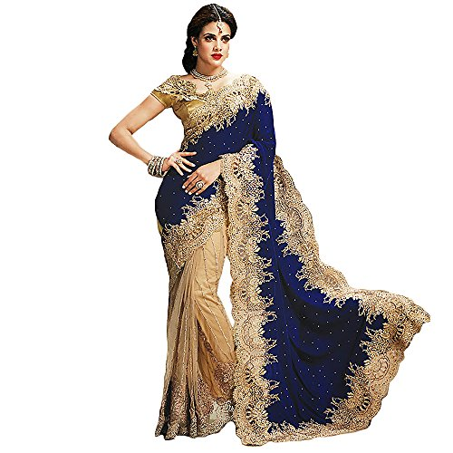 Shree-Designer-Sarees-Womens-Bedeck-Cream-Blue-Georgette ...