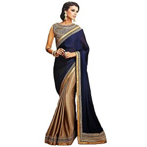 Shree-Designer-Sarees-Womens-Repute-Brown-Navy-Blue-Georgette-On-Silk-Saree-0