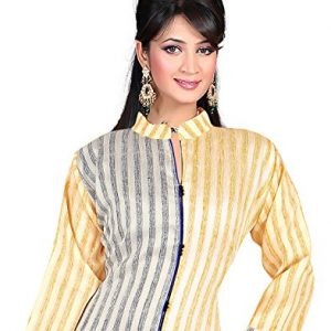 Silk-Beige-Indian-Designer-Tunic-Top-Bollywood-Women-Long-34-Sleeve-Kurti-Kurta-0-1