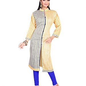 Silk-Beige-Indian-Designer-Tunic-Top-Bollywood-Women-Long-34-Sleeve-Kurti-Kurta-0