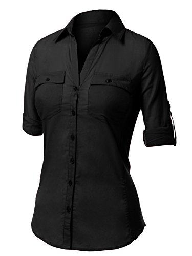 Urban k slim fitting 3 4 sleeve button down womens shirt for Womens button down shirts fitted