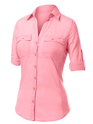 Urban k plus size slim fitting 3 4 sleeve button down for Plus size womens shirts