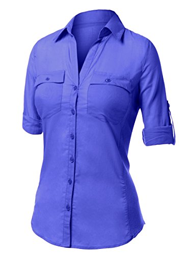 Royal blue button down shirt womens custom shirt for Royals button up shirt