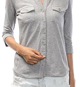 URBAN-K-WOMENS-Plus-Size-Roll-up-Sleeve-Knitted-Button-Down-Collar-Shirt-S-3XL-0