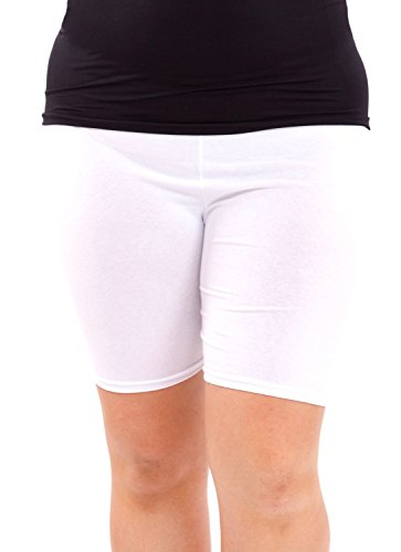Ladies Plus Size Cotton Spandex Mid Thigh Shorts