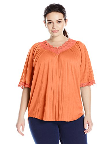 Allison-Brittney-Womens-Plus-Size-Elbow-Raglan-Bell-Sleeve-Double-V-Neck-Top-0