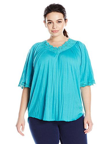 Allison Brittney Women's Plus Size Elbow Raglan Bell Sleeve Double V-Neck Top, Turquoise, 1X