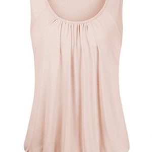 Bebonnie-Womens-Cap-Sleeve-Scoop-Neck-Ruffle-Pleated-Front-Banded-T-Shirts-0