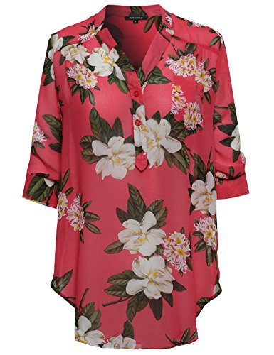 Awesome21 Women's Floral Henley Blouse Dress Shirt – Small, AWTSTL0371 Coral