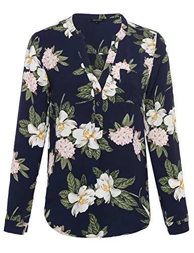 Awesome21 Women's Floral Henley Blouse Dress Shirt – Small, AWTSTL0372 Navy