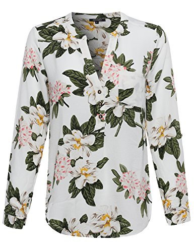 Awesome21 Women's Floral Henley Blouse Dress Shirt – Small, AWTSTL0372 Offwhite