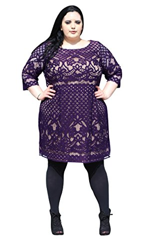 Gabby-Skye-Womens-Plus-Size-34-Sleeved-All-Over-Detailed-Lace-Dress-0