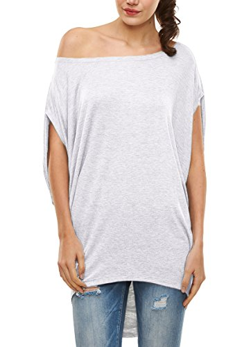 Glostory Women's Casual Off The Shoulder Shirts Women Tops and Blouses 1667 (S, White)