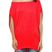 Glostory Women's Casual Off The Shoulder Shirts Women Tops and Blouses 1667(S, Dark Red)