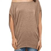 Glostory Women's Casual Off The Shoulder Shirts Women Tops and Blouses 1667(S, Khaki)