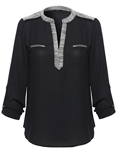 Awesome21 Women's Floral Henley Blouse Dress Shirt – Small, AWTSTL0370 Black