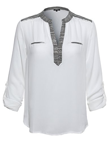 Awesome21 Women's Floral Henley Blouse Dress Shirt – Small, AWTSTL0370 Offwhite