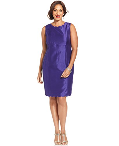 Kasper Plus Size Shantung Scalloped-Trim Sheath Dress, Regal ...