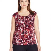 Kasper Women's Plus Size Extended Cap Sleeve Pleat Neck Cami, Geranium Multi, 3X
