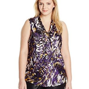 Kasper-Womens-Plus-Size-Feather-Printed-Tie-Neck-Cami-0