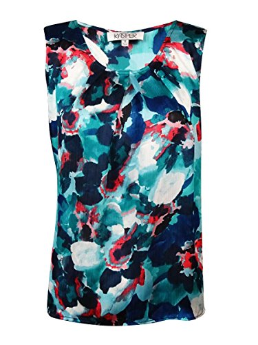 Kasper Women's Plus-Size Floral Pleat Neck Cami, Indigo Multi, 1X