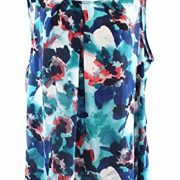 Kasper Women's Plus-Size Floral Pleat Neck Cami, Indigo Multi, 2X