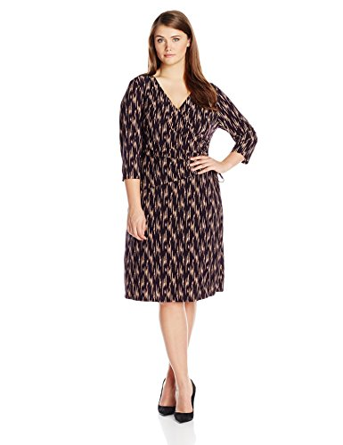 Kasper Women's Plus-Size Ikat Lines Side Tie 3/4 Sleeve Dress, Raisin/Stone, 14