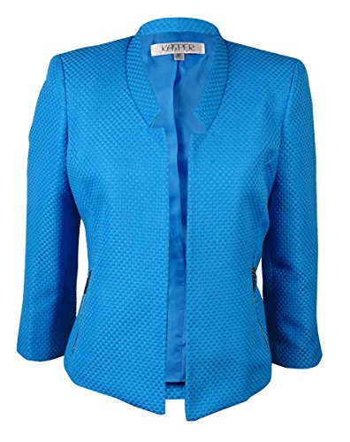 Kasper Women's Plus-Size Textured Open-Front Jacket with Notched Sleeves – 20 Plus, Surf