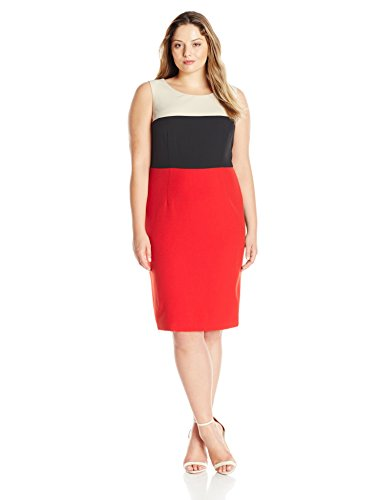 Kasper-Womens-Plus-Size-Mystery-Stretch-Crepe-Color-Block-Dress-0